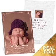 Delicate Foil Frame Vertical Baby Girl Announcements