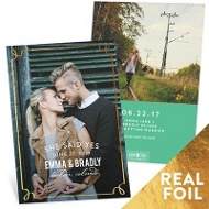 Delicate Foil Frame Vertical Save The Date Cards