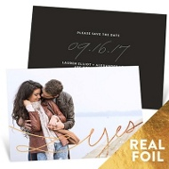 Swirling Foil Yes Save The Date Cards