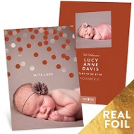 Foil Confetti Welcome Baby Girl Announcements