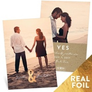 Me & You Foil Vertical Save The Date Cards