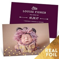 Foil Heart Sprinkles Baby Girl Announcements