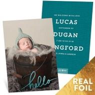 Foil Hello Vertical Baby Boy Announcements