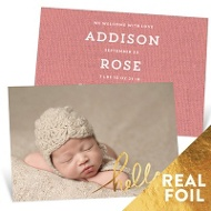 Foil Hello Baby Girl Announcements