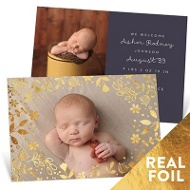 Foil Flower Bed Birth Announcements