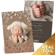 Foil Flower Bed Baby Girl Announcements