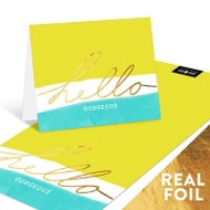 Tri-Color Foil Hello Personalized Note Cards