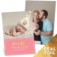 It's A Girl Foil Baby Girl Announcements