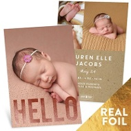 Big Foil Vertical Hello Birth Announcements