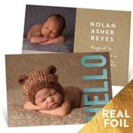 Big Foil Hello Baby Boy Announcements