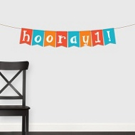 Painted Hooray Banner For Him -- Kids Party Decorations