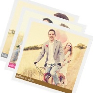 Newlywed Banner Set of 3 Personalized Photo Napkins