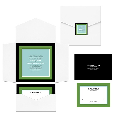 modern green pocket fold wedding invitation