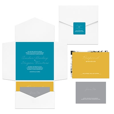 Contemporary Pocket Ensemble Wedding Invitations