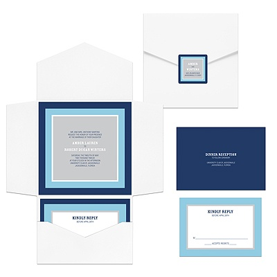 Contemporary Frames in Blue -- Pocket Wedding Invitation