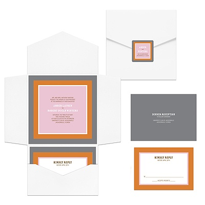 Contemporary Frames in Pink Ensemble -- Pocket Wedding Invitations