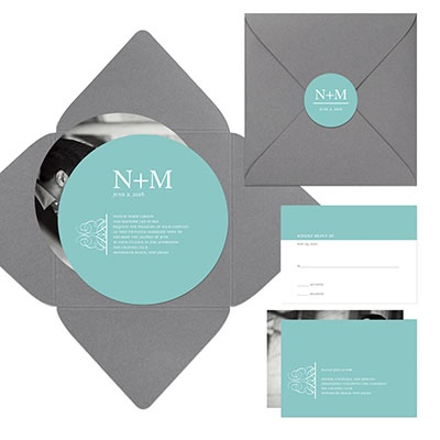Simply Circled Pocket Wedding Invitation Product Zoom Personalize