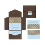 Exquisite Pattern -- Blue Pocket Wedding Invitation