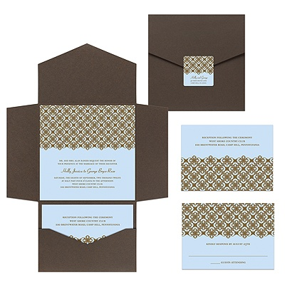 Exquisite Pattern Blue Pocket Wedding Invitation