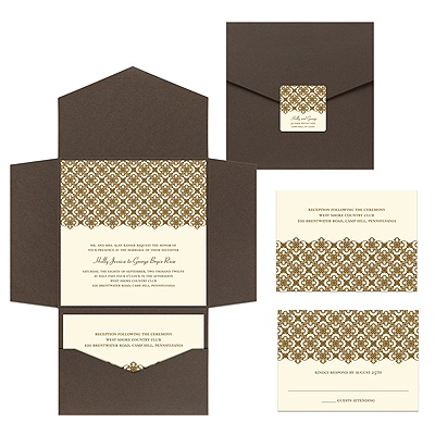 Exquisite Pattern Ecru Pocket Wedding Invitation