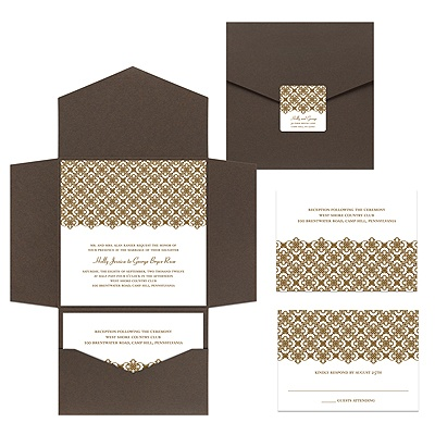 Exquisite Pattern White Pocket Wedding Invitation