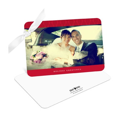 Ribbon Wrapped Damask -- Holiday Photo Cards