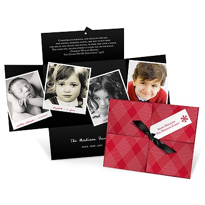 Collage Christmas Present In Plaid -- Holiday Photo Cards