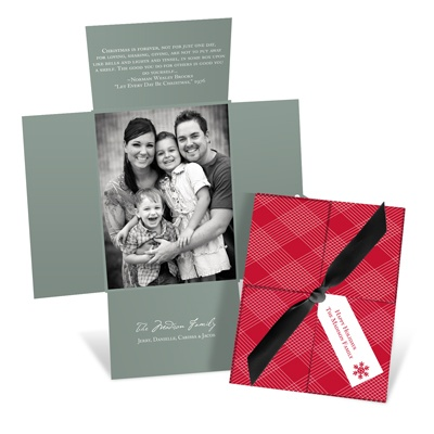 Wrapped in Plaid -- Vertical Holiday Photo Cards