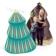 Photo Folk Art Christmas Tree Ornament