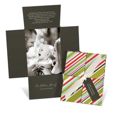 Striped Surprise -- Vertical Holiday Photo Cards