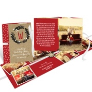 Winter Wreath Ribbon Booklet Holiday Photo Cards