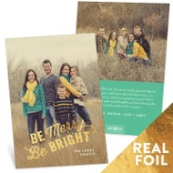 Shining Bright Foil Vertical Holiday Photo Cards