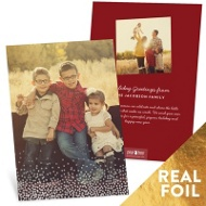 Falling Foil Snow Vertical Holiday Photo Cards