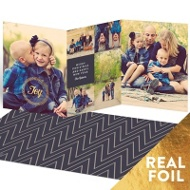 Foil Joy Wreath Trifold Holiday Photo Cards