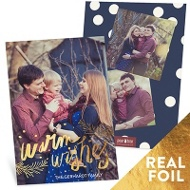 Warm Wishes Vertical Holiday Photo Cards
