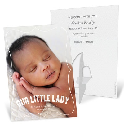 Vertical Picture Frame Girl Birth Announcements