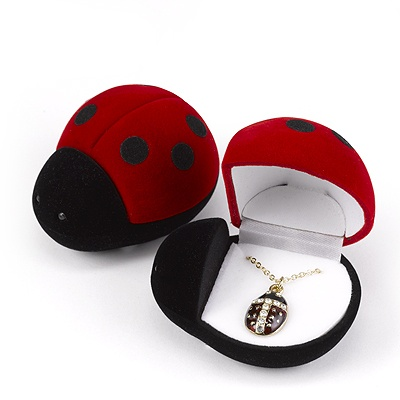 Ladybug Necklace in Velour Box