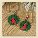 Cardinal Wreath Earrings