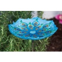 Peacock Glass Birdbath