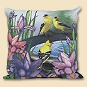 Garden Song Finch Weather Resistant Pillow