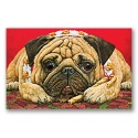 Poinsettia Pug Card