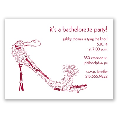 Bachelorette Shoe - Apple - Party Invitation