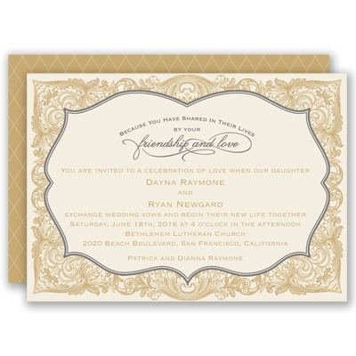 Antique Border - Golden - Invitation