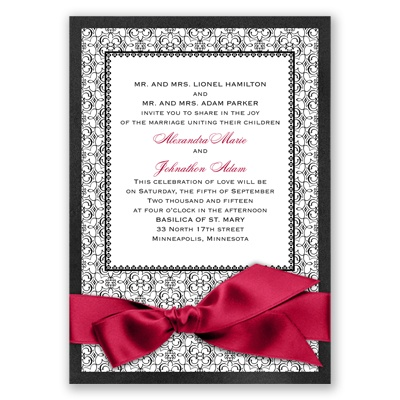 Imperial Byzantine Border - Onyx Invitation with Ribbon