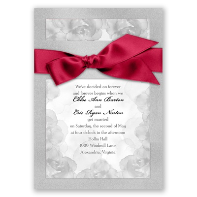 Treasured Jewels Vintage Roses - Silver Invitation