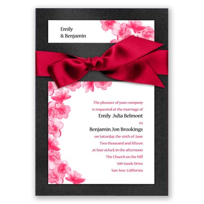Treasured Jewels Floral - Onyx & Bright White Invitation
