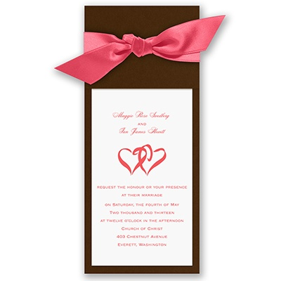 Wrapped in Love - Brown Wrap & Bright White Invitation with Design