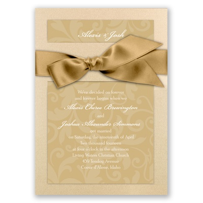 Treasured Jewels Pattern - Champagne & Golden Invitation
