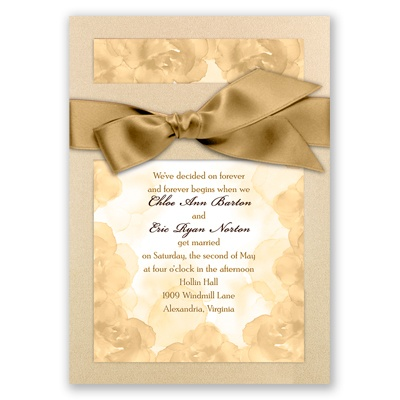 Treasured Jewels Vintage Roses - Champagne Invitation
