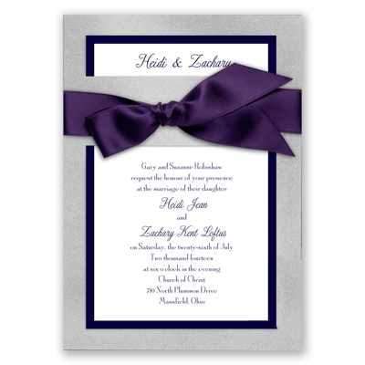 Treasured Jewels Border - Silver & Bright White Invitation